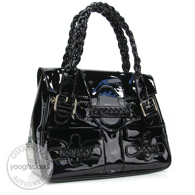 Valentino Garavani Black Patent Leather Histoire Bag