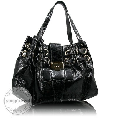 Jimmy Choo Black Patent Leather Ramona Tote Bag