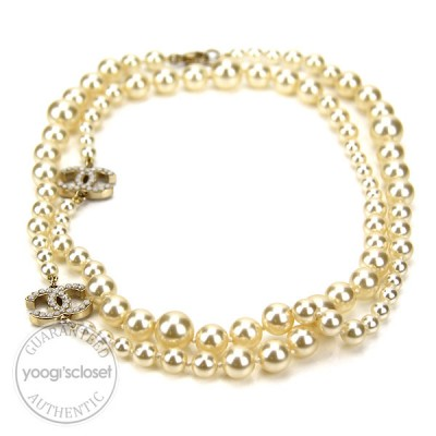 Chanel Classic CC Logo Long Pearl Necklace