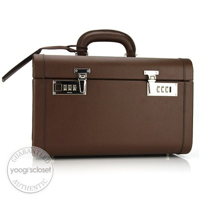 Prada Brown Saffiano Leather Cosmetic Train Case