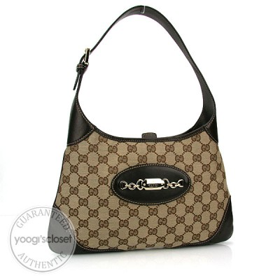 Gucci Beige/Ebony GG Fabric Small Chainlink Hobo Tote Bag