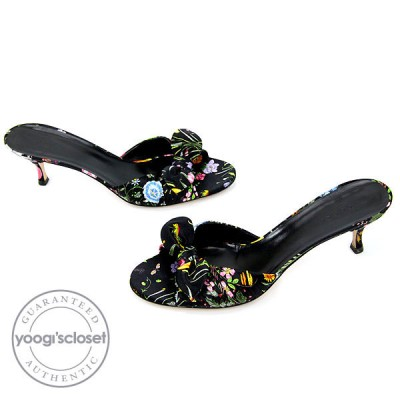 Gucci Floral Print Satin Open Toe Mules Size 8