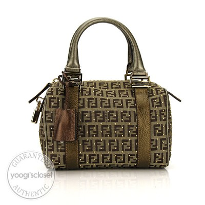 Fendi Brown/Beige Zucchino Canvas Mini Studded Bauletto Bag