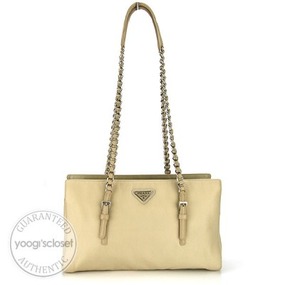Prada Beige Nylon Chain Shoulder Bag