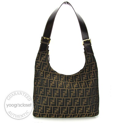 Fendi Tobacco Zucca Print Canvas Large Shoulder Bag