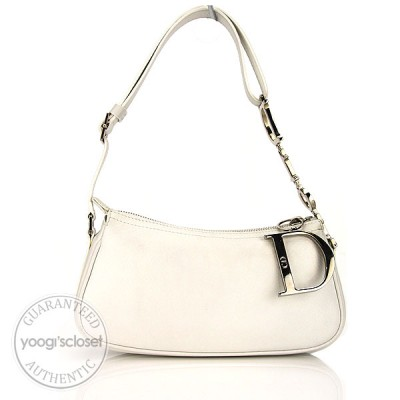 Christian Dior White Leather Small Shoulder Bag