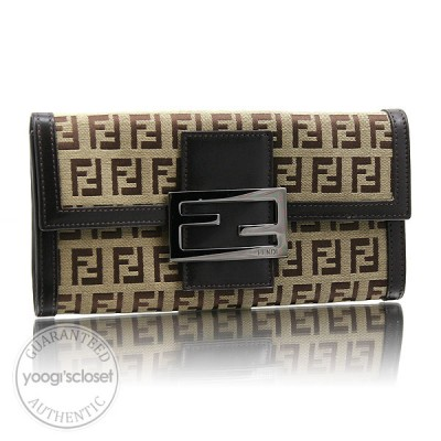 Fendi Beige Zucchino Canvas Long Wallet