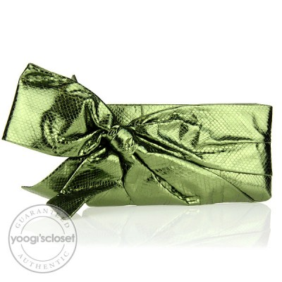 Valentino Garavani Metallic Green Ayers Snake Bow Clutch Bag