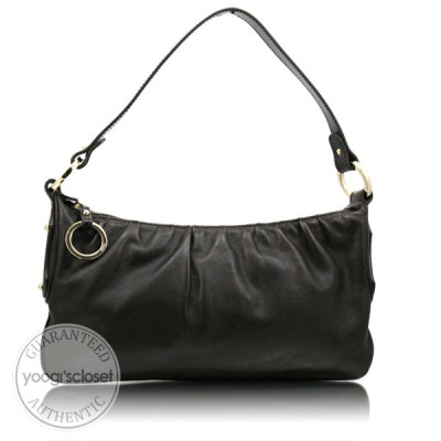 Fendi Dark Brown Leather Pleated Shoulder Bag