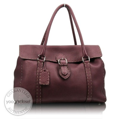 Fendi Bordeaux Selleria Leather Linda Tote Bag