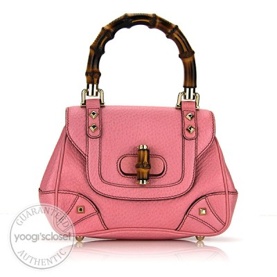 Gucci Pink Leather Mini Top Handle Bamboo Bag