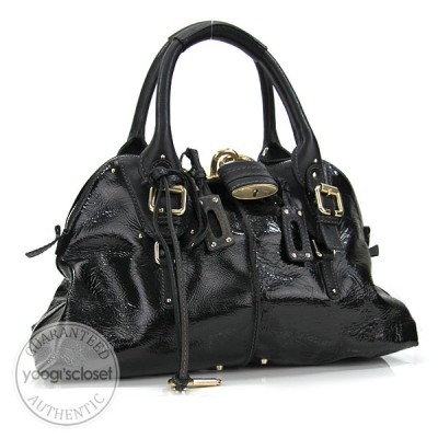 Chloe Black Patent Leather Paddington Dome Bag