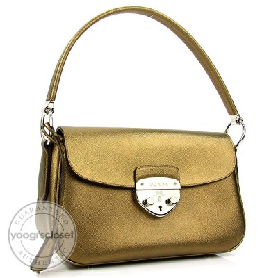Prada Bronze Saffiano Leather Lux Small Shoulder Bag BR3376
