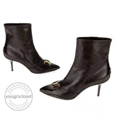 Louis Vuitton Brown Glazed Leather Candice Ankle Boots Size 8.5
