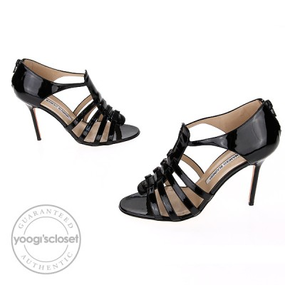 Manolo Blahnik Black Patent Leather Cage Heels Size 8