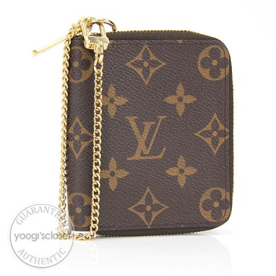 Louis Vuitton Canvas Monogram Zippy Wallet with Chain