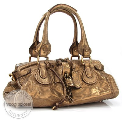 Chloe Gold Paddington Medium Satchel Bag