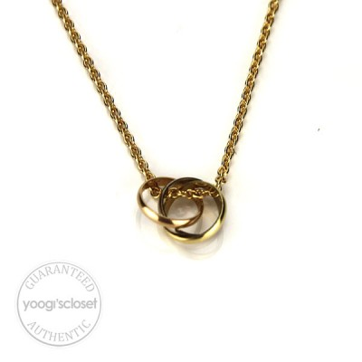 Cartier Baby Trinity 18K Triple Ring Yellow Gold Necklace
