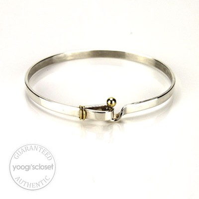 Tiffany & Co. Silver Bangle with 14K Gold Accent Ball