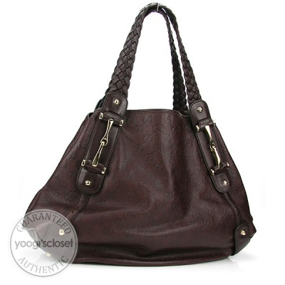 Gucci Chocolate Guccissima Medium Pelham Shoulder Bag