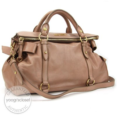 Miu Miu Beige Leather Fold-Over Bow Satchel Bag