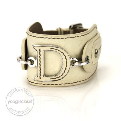 "Christian Dior Leather ""D"" Logo Buckle Bracelet"