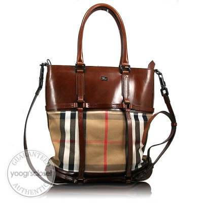 Burberry Brown Bridle Nova Check Messenger Tote Bag