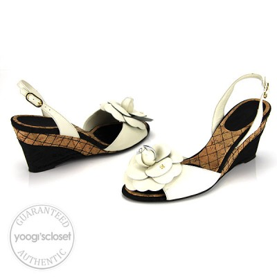 Chanel White Leather Flower Wedge Cork Sandals Size 9.5