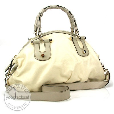 Gucci White Leather Pop Bamboo Handle Bag