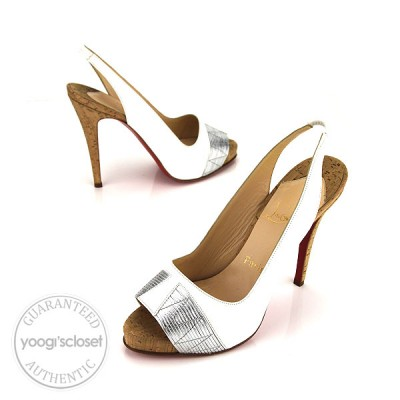 Christian Louboutin White Leather Moyen Empire Slingback Heels Size 8.5