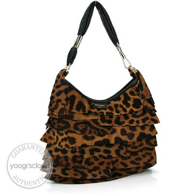 Yves Saint Laurent Leopard Calf Hair Small St. Tropez Bag