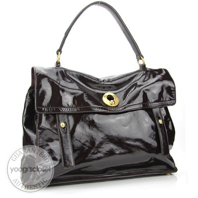 Yves Saint Laurent Brown Patent Leather Muse Two Bag