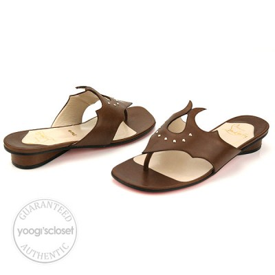 Christian Louboutin Brown Uadaipur Flat Leather Sandals Size 6