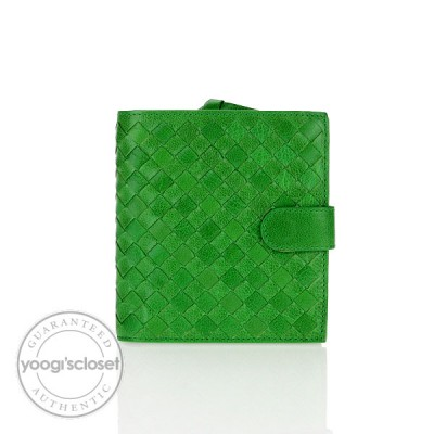 Bottega Veneta Green Nappa Woven Leather Compact Wallet