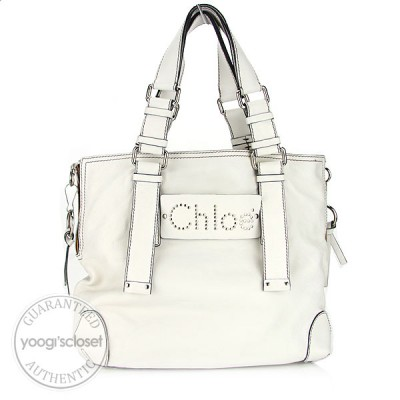 Chloe White Leather Studded Patsy Tote Bag