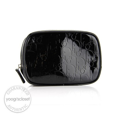 Christian Dior Black Patent Leather Logo Cosmetic Bag