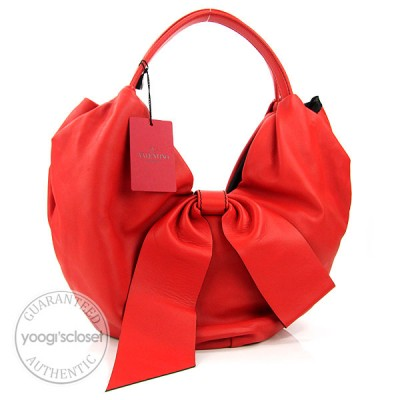 Valentino Garavani Red Nappa Leather 360 Bow Hobo Bag