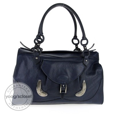 Tod's Navy Blue Leather Chopper Satchel Bag