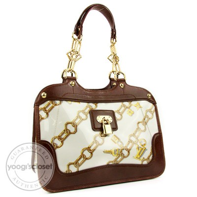 Louis Vuitton Limited Edition White Monogram Charms Cabas Bag