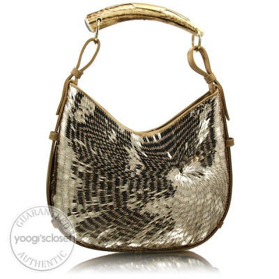 Yves Saint Laurent Gold Sequin Satin Mombasa Horn Bag
