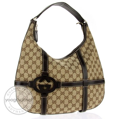 Gucci Beige/Ebony GG Fabric Royal Hobo Bag