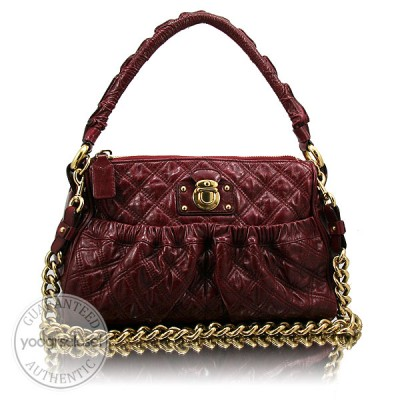 Marc Jacobs Bordeaux Quilted Calfskin Leather Julianne Stam Bag