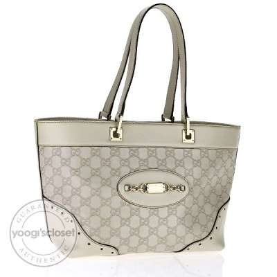 Gucci White Guccissima Leather Medium Tote Bag