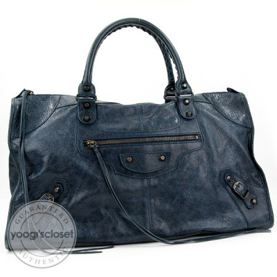 Balenciaga Blue Distressed Lambskin Work Tote bag