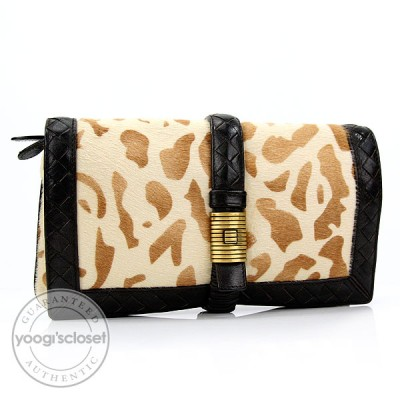 Bottega Veneta Ebano Animal Print Clutch Bag