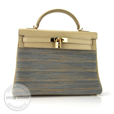 Hermes 32cm Vibrato with Beige Calf Box Leather Gold Hardware Kelly Bag