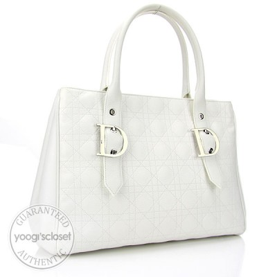 Christian Dior White Quilted Leather Cannage Large Tote Bag