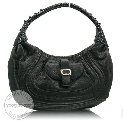 Fendi Black Nappa Leather Spy Hobo Bag