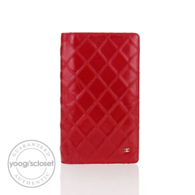 Chanel Red Quilted Leather Long Purse Wallet