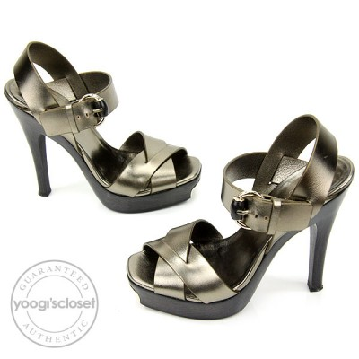 Gucci Metallic Gunmetal Leather and Wood Strappy Platform Heels Size 7